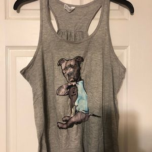 Very cute racer back shirt with bulldog on it